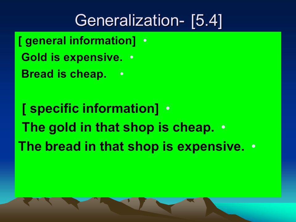 Generalization- [5.4] [ specific information]